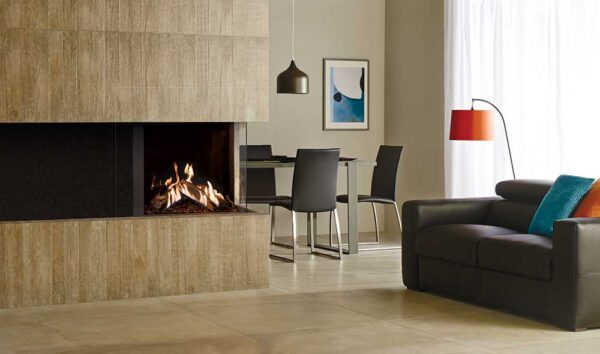Gazco Reflex 75T Multi-sided - The Gazco Reflex two-sided and three-sided gas fires grant an unparalleled view of the stunning flame visuals, which can be viewed from almost anywhere in the room.  These elegantly contemporary gas fires allow for a beautifully bespoke fireplace, whether positioned centrally or in the corner of the room. The two-sided 75T-2 is designed for corner installations and can be selected in either right or left corner versions to suit your home. The 75T-3's panaromic display offers stunning views from any angle, with three sides showing the deep log composition and dancing flames.