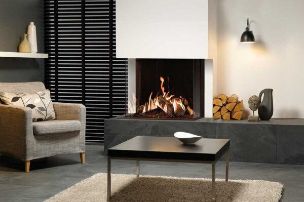Gazco Reflex 75T Multi-sided - The Gazco Reflex two-sided and three-sided gas fires grant an unparalleled view of the stunning flame visuals, which can be viewed from almost anywhere in the room. These elegantly contemporary gas fires allow for a beautifully bespoke fireplace, whether positioned centrally or in the corner of the room. The two-sided 75T-2 is designed for corner installations and can be selected in either right or left corner versions to suit your home. The 75T-3?s panaromic display offers stunning views from any angle, with three sides showing the deep log composition and dancing flames.