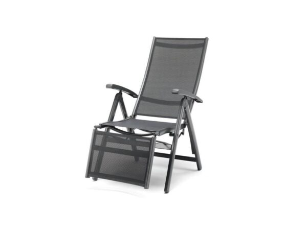Kettler Relaxer Armchair - The Surf Collection by Kettler has a variety of seating and table options for dining to relaxing outdoors. Aluminum frames can stay in the garden all year round and they come backed up with our 3-year warranty. The textile sling seating is comfortable, moving to the contours of your body with no cushions required. Relaxer Armchair In Iron grey/grey aluminum.