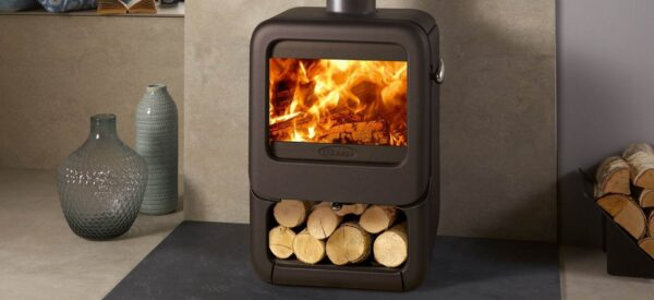 Dovre Rock 350 - The stylish Rock 350 wood burning stove features advanced combustion technology that produces a generous 7kW output at 80% efficiency. The stove?s curved, cast iron sides can be complemented with various stand options including tablet or a matching integral wood store. Accenting the stove?s Matt Black exterior, the polished stainless steel pebble handle provides easy door opening, and can also be detached to function as a cool-touch handle if desired.