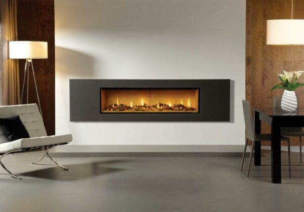 Gazco Studio 3 - The Gazco Studio gas fire is for those who require minimalist modern perfection. This gas fire has an eye-catching no-frame* design which realises that ?hole-in-the-wall? fire look. Available as both Glass Fronted and Open Fronted models, this contemporary fire adds a stylish statement to any living space. Glass Fronted models benefit from a choice of three realistic fuel beds: Log-effect, Pebble & Stones or Driftwood-effect for that beachy aesthetic. Furthermore, Open Fronted models can have the White Stones fuel bed upgraded to red, black or clear Glass Beads which, next to the ribbon of flames, creates quite the spectacular centrepiece.