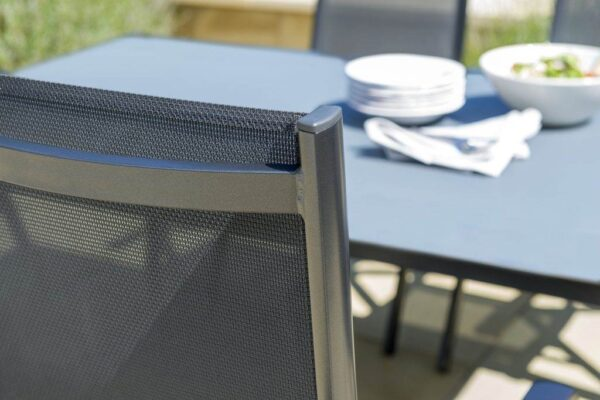Kettler Surf Multi Position Chair - The Surf Collection by Kettler has a variety of seating and table options for dining to relaxing outdoors. Aluminum frames can stay in the garden all year round and they come backed up with our 3-year warranty. The textile sling seating is comfortable, moving to the contours of your body with no cushions required. In Iron grey/grey aluminum.