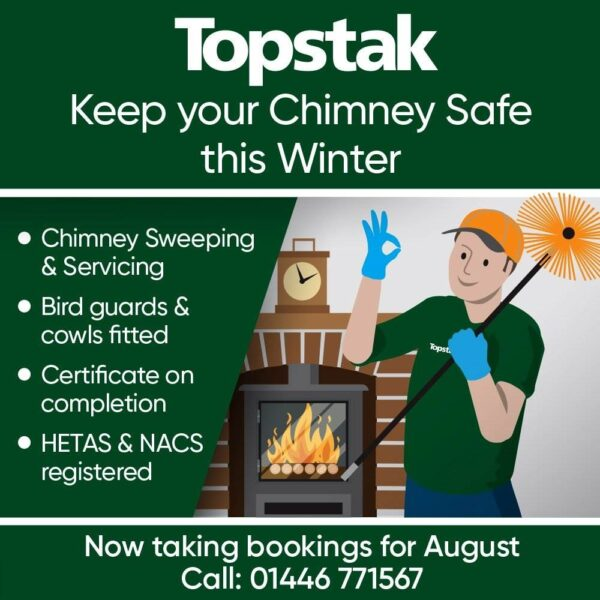 """Standard Chimney Sweep - <span style=""""display: inline !important; float: none; background-color: #ffffff; color: #3a3a3a; cursor: text; font-family: Georgia,'Times New Roman','Bitstream Charter',Times,serif; font-size: 100%; font-style: inherit; font-variant: normal; font-weight: inherit; letter-spacing: normal; orphans: 2; text-align: left; text-decoration: none; text-indent: 0px; text-transform: none; -webkit-text-stroke-width: 0px; white-space: normal; word-spacing: 0px;"""">Topstak provide a sweeping service throughout the Vale Of Glamorgan and Cardiff and surrounding areas using our team of Hetas and NACS qualified chimney sweeps. Our chimney sweeps are equipped with the latest range of modern and traditional equipment including rotary power sweeping to leave your chimney clean and safe ready for the winter months. A NACS certificate is issued with every sweep, often required by insurance companies, Landlords and for guarantee purposes.</span>"""