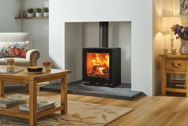 Stovax Vision Medium - Featuring all the hallmarks of the Vision range, the Medium is a large format stove with a stunning, expansive flame picture and high efficiency heat output of up to 9kW. Designed to meet future Ecodesign low emission standards, this stylish stove is ultra-green burning for minimal environmental impact. The Vision Medium can be combined with either the impressive Glass Plinth or a stove bench to achieve outstanding style and powerful heating potential in equal measure.