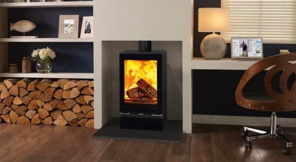 """Stovax Vision Midi T - The Stovax Vision Midi T wood burning stove offers a taller version of the?<a href=""""https://www.stovax.com/stove-fire/vision-wood-multi-fuel-stoves/vision-midi/"""">Midi</a>?for a more expansive flame picture. This wood burning model features one of the most advanced Cleanburn combustion systems available, making it an exceptionally environmentally friendly stove option. All models in the Vision range can be enhanced with a matching ceramic glass top, glass plinth as well as a gloss flue pipe if desired."""