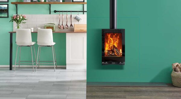 Stovax Vision Midi T Wall Hung - Perfect for settings such as kitchens or dining areas, the Stovax Vision Midi T Wall Mounted wood burning and multi-fuel stove raises the flames for optimum visibility. This ultra-modern stove perfectly suits this designer installation option, adding a chic centrepiece in any setting.
