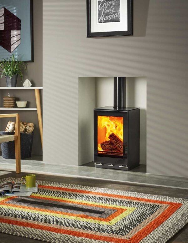 "Stovax Vision Small T - Sharing the compact footprint of the <a href=""https://www.stovax.com/stove-fire/vision-wood-multi-fuel-stoves/vision-small/"">Stovax Vision Small wood burning and multi-fuel stove</a>, as well as the <a href=""https://www.stovax.com/sia-ecodesign-ready-wood-burners/"">Ecodesign Ready</a> Cleanburn combustion systems, the wood burning T version offers a taller flame picture thanks to the higher firebox ceiling. An alternative take on the standard stove format, the Small T's portrait proportions make it an eye-catching choice wherever it is installed."
