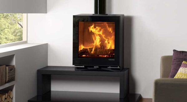 """Stovax Vision Medium Slimline - This wide-format Stovax Vision Medium Slimline wood burning and multi-fuel stove offers the stunning flame visuals of the more powerful<a href=""""https://www.stovax.com/stove-fire/vogue-wood-burning-multi-fuel-stoves/vogue-medium/"""">Medium stove</a>model whilst maintaining a 5kW heat output, thanks to its slim depth. This stylishly contemporary stove is available in either wood burning or multi-fuel versions to suit your lifestyle."""