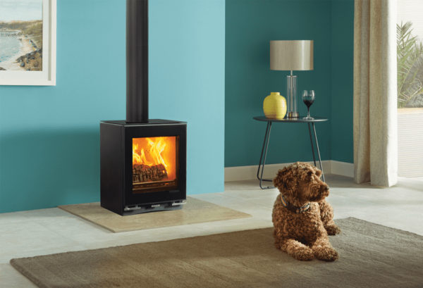 Stovax Vision Small - The sleek looks of the Vision Small encapsulate the defining characteristics of this range of ultra-contemporary stoves. Featuring a stunning black glass door that gives you the best possible view of your fire, this compact and stylish stove gives a generous heat output of up to 5kW. With many optional extras available such as the Ceramic Glass Top or Plinth with matching glass front, your styling possibilities are extended even further.