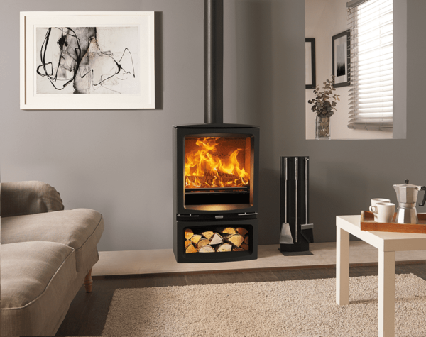 """Stovax Vogue Medium Slimline - This wide-format wood burning and multi-fuel stove offers the stunning flame visuals of the more powerful<a href=""""https://www.stovax.com/stove-fire/vogue-wood-burning-multi-fuel-stoves/vogue-medium/"""">Stovax Vogue Medium stove</a>whilst maintaining a 5kW heat output, thanks to its slim depth. This stylishly contemporary stove is available in either wood burning or multi-fuel versions to suit your lifestyle."""