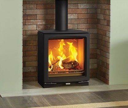 Stovax Vogue Medium - The Stovax Vogue Medium wood burning and multi-fuel stove provides an impressive 7kW of heat, making it a great choice for larger living spaces. With an expansive stove window that features self-cleaning Airwash technology, the Medium's superb flame visuals provide a captivating focal point on a cold winter's eve. Featuring the very latest combustion technology, this eco-friendly stove burns so cleanly it is compliant with future Ecodesign emission standards.