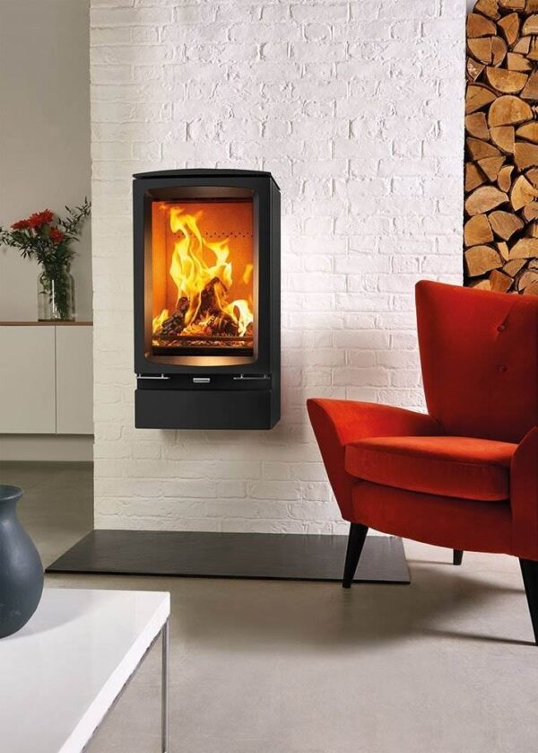 Stovax Vogue Midi T Wall Mounted - This wall-mounted version of the Stovax Vogue Midi T wood burning stove adds a designer installation in any setting, and can be top or rear flued to suit. This minimalist wood burning stove features all the innovative design aspects of the Vogue range, including powerful Airwash and ultra-clean burning combustion systems.