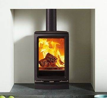 """Stovax Vogue Small T - This T version of the Stovax Vogue Small wood burning stove offers the same small size but provides a taller, portrait flame view. Vogue stoves can be increased in height with either of the optional Plinth or Midline log store bases, in addition to<a href=""""https://www.stovax.com/products/fireplace-stove-hearth-accessories/riva-stoves-bench/"""">Stovax's choice of stove benches</a>."""