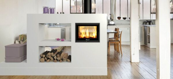 Dovre Zen 102 - This outstanding, double-sided cassette wood burning fire combines big impact with compact dimensions. The firebox size and 5kW heat output is ideal for linking two smaller living spaces ensuring a fabulous and full flame picture from both sides of the fire. The stunning Zen 102 is made yet more attractive by its recessed combustion chamber below the viewing window.