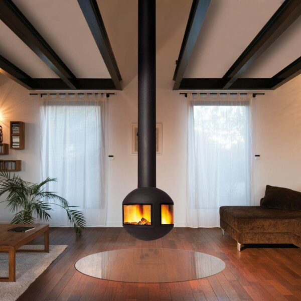 Agorafocus 630 - A discreet best-seller, this cleverly crafted model can be suspended so that its direction is adjustable, or it can be fixed on a base. It is designed with a glass-panelled fireguard so the fire can be viewed from all sides.  Taking up little space with a diameter of63 cm, this subtle fireplace gracefully gives a 360° luminous focus to a room. Easy installation and maintenance (ash can be easily removed) and exceptional heat output match the model's aesthetic achievements.
