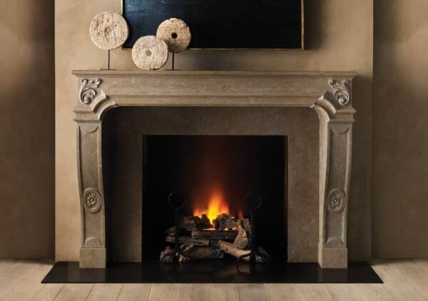 The Antibes - The Antibes is inspired by the joie de vivre of the French Regency style – at once romantic and restrained. Classically proportioned and elegantly detailed, the chimney piece is fabricated in Azul Valverde limestone, a dense material that lends itself to the finely carved detail that it displays.