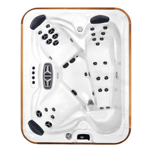 """Arctic Spa Fox - <span style=""""font-size: 16px; font-style: normal; font-weight: 400;"""">Our Design team finally figured out how to get our most comfortable seats into our smallest Custom Series spa. His and Hers Shuttle Seats and an amazing lounger are featured in this comfortable yet compact and fairly deep design.</span>  Seating Capacity: 3 adults  Jets: 15 or 30  Pumps: 1 or 2 pumps  Volume: 884 litres  Size: W174cm x L217cm x H98cm"""