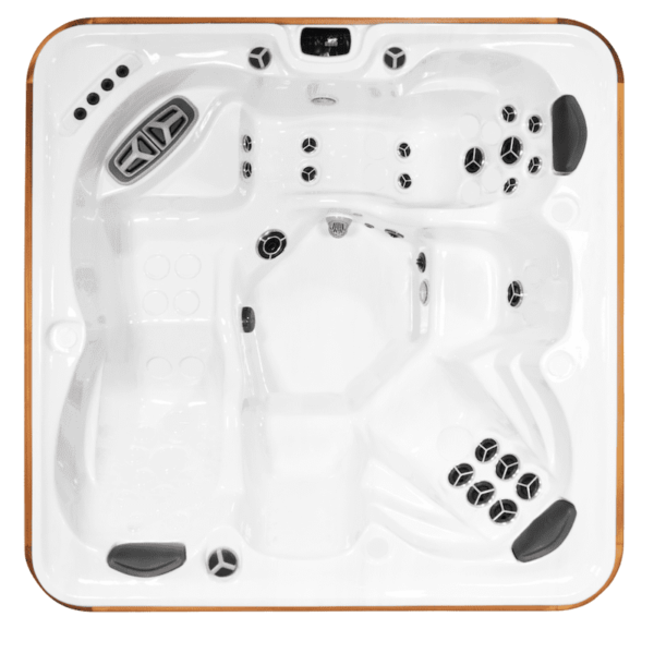 Arctic Spa Klondiker - Luxurious lounging is the name of the game in this tub featuring our His and Hers no float loungers. Recently redesigned the new loungers may be as comfortable as you'll find anywhere. 3 individualised sculptured seats and multi- level armrests finish off this amazing model.  Seating Capacity: 6 adults  Jets: up to 60  Pumps: up to 4  Volume: 1431 litres  Size: W235cm x L235cm x H98cm