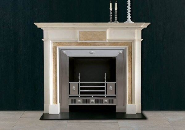The Athenian - The Athenian is manufactured in statuary marble with Etruscan Gold centre tablet and ingrounds. This is a chimneypiece of strong architectural form and good proportions.