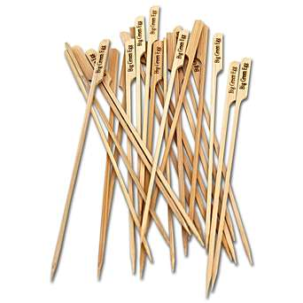 Natural Bamboo Skewers - Made from natural, eco-friendly bamboo, these skewers are perfect for serving kebabs,chunks of chicken, meats, shrimp, or vegetables. Also great for serving appetisers, cheese and sandwiches... these skewers are perfect for cherry tomatoes and mozzarella balls too! Each skewer has a Big Green Egg logo on an easy-grip handle. 25 per pack.