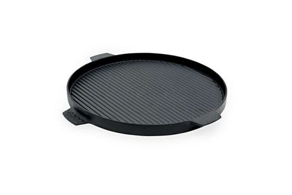 """Cast Iron Plancha Griddle - The dual-sided design of the Cast-Iron Plancha Griddle is ideal for searing meats and seafood with a flavour-packed crust, sautéing vegetables and even grilling sandwiches and paninis. Featuring four convenient handles for safe and easy lifting, the Plancha Griddle is also perfect for cooking your breakfast favourites .... use the flat side for pancakes and eggs, the ridged side for sausage and bacon. Authentic, high temperature """"steak house"""" grilling is quick, easy and delicious."""