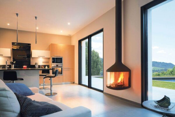 Hubfocus - A close relative of the Optifocus, the Hubfocus floats above the ground, airy, serene and peaceful. Its compact size creates space, and its graceful design allows a 180° view of the fire and reveals the full height of the flames.