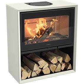 Contura 310 - The Contura 300 is the perfect choice if you know how you want your stove to look. Do you want a black or white stove? A cast-iron or glass door? Do you want a log box? You have a choice of three. What about a drawer or other smart accessory?