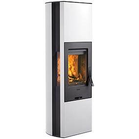 Contura 35 High - Contura 35 is a cousin of the Red dot design Award-winning Contura 35T. The woodburning stove is available with a white or black steel surround, glass or cast iron door and glass top. A powerstone heat tank retains the heat for a long time, up to 7 hours with the damper closed. The Clean burning system keeps the glass cleaner.