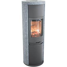 Contura 690T Style - A larger stove has a greater output, that it gives off more heat than a smaller one. There are also good ways of getting even more heat out of your stove. Soapstone is a naturally heat retaining material. With a soapstone surround the stove can remain warm for several hours after the embers have died. The soapstone has a unique natural veining, which means that no two stoves are the same. Contura 690T can be combined with heat retaining powerstone.