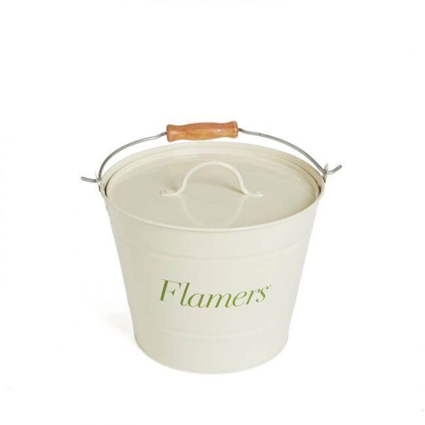 """Flamers Bucket - This metal Flamers bucket provides the perfect storage solution for your Flamers. The bucket enables you to store your flamers in an attractive fireside accessory, avoids packaging and with a lid combined you can be sure that your Flamers are stored safely and kept tidily. <ul class=""""product-list""""> <li>The perfect storage solution for your Flamers natural firelighters</li> <li>Holds approx. 75 Flamers</li> <li>Includes lid for safety and protection</li> <li>Earn loyalty points on your purchases</li> </ul>"""