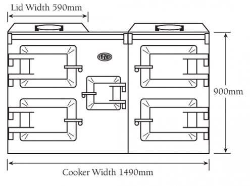 """Everhot 150+ - TheEverhot 150+has four large ovens and a wealth of cast iron hotplate capacity, as well as two grills, integral controls and a useful resting plate positioned between the hotplates. As with the Everhot 120+, this is the ideal cooker for those who require more heat in their kitchen.  Click<a href=""""https://www.topstak.co.uk/events/"""">here</a>for a list of upcoming cooking demonstrations"""
