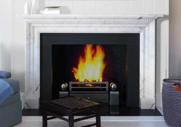 The Carlton - The Carlton is a chimneypiece of simple construction in statuary marble enriched by a series of finely carved mouldings to both the pilasters and frieze.