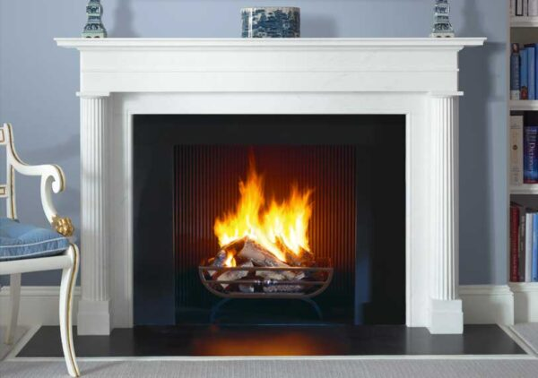 The Lincoln - The Lincoln is a statuary marble chimneypiece of classical proportions featuring engaged reeded Doric columns, a running stepped frieze and a generous mantel shelf.