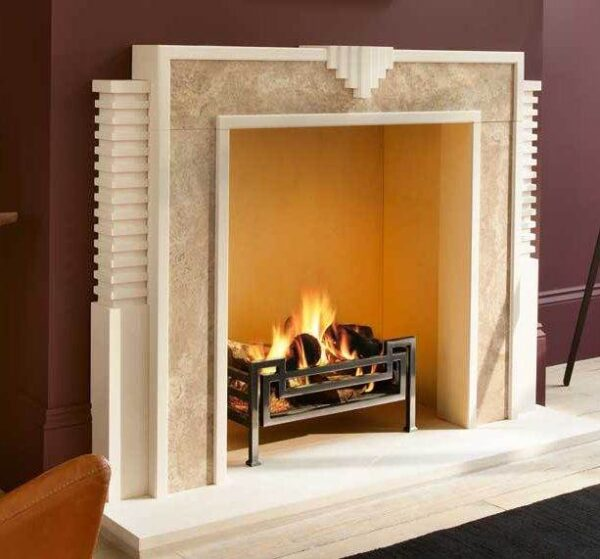 The Hulanicki Art Deco Style Fireplace Surround - This fireplace is a contemporary re-working of a classic Art Deco style featuring a striking combination of limestone with inset panels of Etruscan Gold marble.