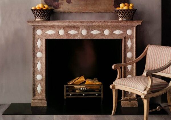 The Veneto - The Veneto re-works a classic Regency design in a truly original manner with a traditional frame fabricated in Light Emperador marble and comprising plain panels ornamented with repeating convex orbs and diamond shapes in contrasting Portuguese stone to create a dramatic and arresting effect.