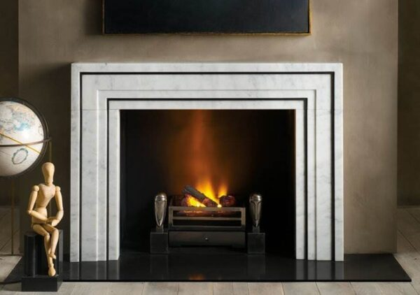 The Ealing - The Ealing is carved in carrara marble with blackened steel accents.