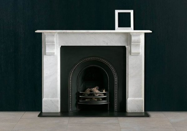 The Edwardian Corbel - A popular late 19th century design with plain jambs and frieze and simple moulded corbel supporting a generous mantel shelf. Standard production material is Carrara marble priced as indicated.
