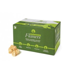 Flamers Firelighters - box of 200 - Topstak process and season our firewood in a purpose-made building to ensure a high quality air-dried firewood which is a good mix of hardwoods such as Ash, Beech and Birch locally sourced.  Also available as loose tipper load and delivered throughout South Wales.