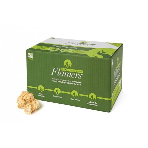 """FLAMERS FIRELIGHTERS (200) - <a href=""""https://www.certainlywood.co.uk/"""" target=""""_blank"""" rel=""""noopener noreferrer"""">Certainly Wood's</a> Flamers Natural Firelighters are untreated wax dipped fine wood shavings made from renewable, natural wood waste. They are easy to light and have a strong, long burn. Great for using in wood burning stoves, fireplaces, charcoal grills and any other kind of wood fire. Box contains 200 firelighters. Also available in <a href=""""https://www.topstak.co.uk/product/flamers-firelighters-box-of-50/"""">boxes of 50</a>."""
