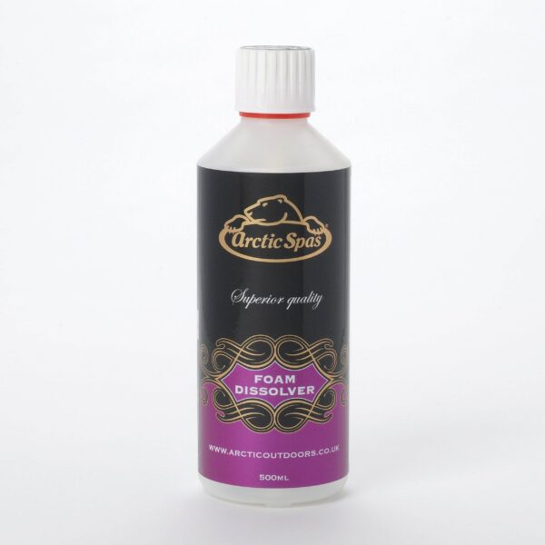 Arctic Foam Dissolver 500ml - Foam Dissolver Liquid Fast acting – To control and prevent foaming in spa water Arctic Spas Foam Dissolver has been especially formulated for use in spas to prevent foaming.