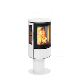 Hwam 2610 - With the HWAM 2600 series, the Danish designers Henrik Sørig and Tobias Jacobsen have created another beautiful stove series which is grand in elegance yet small in size. The airwash system keeps the glass clean and ensures that the fascinating fire can be enjoyed through the curved glass pane in the cast-iron door.