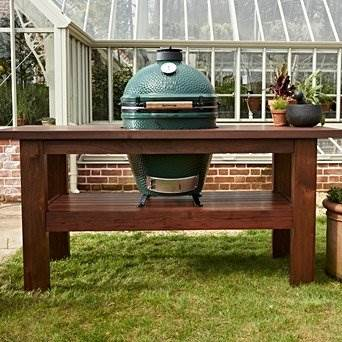 Premium Royal Mahogany Table for Large Big Green Egg - A beautiful and incredibly durable table in which the EGG is the centrepiece, as it should be!