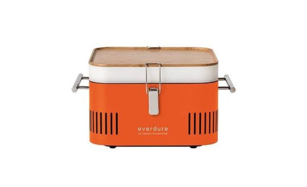 """Everdure CUBE Portable BBQ - Orange - <div>  <hr />  <h3 class=""""list-title"""">Totally portable</h3> <p class=""""body-text medium"""">Made from lightweight durable steel, with a high temperature finish and sleek cool-to-the-touch handles, the compact CUBE<sup>TM</sup> is portable charcoal cooking at its easiest.</p>  <h3 class=""""list-title"""">Integrated storage</h3> <p class=""""body-text medium"""">A food-grade storage tray and bamboo preparation board are cleverly integrated in the design, still leaving room to store fresh coals.</p>  </div> <div> <h3 class=""""list-title"""">Safe to handle</h3> <p class=""""body-text medium"""">With a built-in heat protection shield, the CUBE<sup>TM</sup> can be used almost anywhere, while the chrome handles remain cool to the touch, even while cooking.</p>  <h3 class=""""list-title"""">Stylish design</h3> <p class=""""body-text medium"""">Available in 4 contemporary colours, the CUBE<sup>TM</sup>makes it easy to show your style and stand out from the crowd.</p>   <hr /> <p class=""""body-text medium""""></p>  </div>"""
