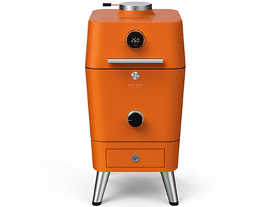 """Everdure 4k Electric Ignition Smart BBQ - Orange - <div> <hr /> <h3 class=""""list-title"""">Airflow Control</h3> <p class=""""body-text medium"""">The 4K's unparalleled airflow control system makes turning the heat up or slowing it down a unique experience. Both top and bottom vents are precisely numbered for a more balanced and responsive flow of air.</p> <h3 class=""""list-title"""">The Anatomy</h3> <p class=""""body-text medium"""">The 4K has all the hardware you need. 2 x matte vitreous enamel grills; 2 x 304 grade stainless steel grills; a 33cm cordierite pizza stone / heat deflector; water container; internal light; grill tongs; and charcoal tongs are all included.</p> </div> <div> <h3 class=""""list-title"""">Sealed, Safe and Sound</h3> <p class=""""body-text medium"""">Striking both inside and out, the 4K is a solid machine constructed from diecast aluminum and thick gauge metal. Our unique insulation design reduces heat transfer to the external body sides and front.</p> <h3 class=""""list-title"""">Real Time Results</h3> <p class=""""body-text medium"""">With 2 discreet probes in the hood and 4 removable probes internally, the 4K takes outdoor cooking to another level. Displayed beautifully, all data can be accessed via bluetooth to our free app which is also packed full of hints, tips, recipes and alerts.</p> </div> <div> <h3 class=""""list-title"""">Touch Glass, Get Flame</h3> <p class=""""body-text medium"""">The 4K's outer body is complete with touch glass display; putting fire at your fingertips.</p> <hr /> <p class=""""body-text medium""""></p> </div>"""