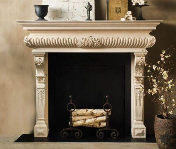 The Randolph - The Randolph, an imposing hand carved limestone chimneypiece with an acanthus leaf carving centered on a dramatic gadrooned frieze.