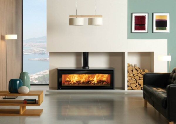 Stovax Studio 3 Freestanding - The largest in Stovax?s Studio range is the striking Studio 3 Freestanding wood burning stove. This highly efficient and visually impressive wood burning stove has the same 11kW of heat output and stunning widescreen views of the flames as its inset fire equivalent but offers a very different look.