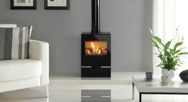 Gazco Vision Midi - With its pure lines and stylish black glass surfaces, the Gazco Vision Midi brings the age old concept of the stove into the present day, offering wood fire ambience with clean, modern styling. Featuring mesmerising rolling flames and a highly realistic log effect fuel bed, the Midi can generate up to 3.6kW of heat at a staggering 84.3% efficiency – making it a both stylish and practical heating solution.