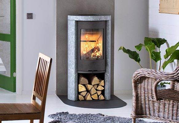 Contura 520T Style - New C520T with a soapstone surround is natural in every way: naturally heat retaining and with naturally patterned stone.