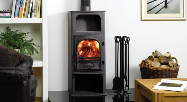 """Stovax Stockton 6 Highline - The Stovax Stockton 6 Highline is available as a dedicated wood burning stove or multi-fuel stove with external riddling. This stove is similar to the standard?<a title=""""Stockton 6 stove"""" href=""""https://www.stovax.com/stove-fire/stockton-wood-multi-fuel-stoves/stockton-6/"""">Stockton 6 stove</a>, but has the addition of a warming shelf and wood store and with larger base plate. The Highline stove is supplied with a 3-tile set for the warming shelf, in a choice of 8 colours."""