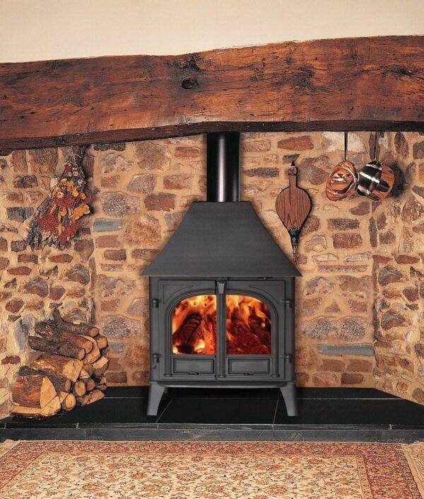 """Stovax Stockton 8 - The Stovax Stockton 8 wood burning and multi-fuel stove offers you greater choice and more optional features than any other model. There is also a space saving<a title=""""Stockton 8 Slimline stove"""" href=""""https://www.stovax.com/stove-fire/stockton-wood-multi-fuel-stoves/stockton-8-slimline/"""">Stockton Slimline stove</a>version which is 3"""" (75mm) shallower. Choose from a single or two door model, the latter of which is available with a handy cast iron tool that locates over the keystone catch and then rotates to open or close the doors. To complete its versatility, the Stockton 8 wood burning and multi-fuel stove is also offered with an<a title=""""Stockton 8HB Boiler stove"""" href=""""https://www.stovax.com/stove-fire/high-output-boiler-stoves/stockton-8hb-boiler-stove/"""">integral boiler</a>which produces up to 34,000 BTUs of hot water."""